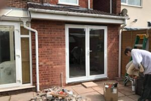 Kitchen extension with new French doors.